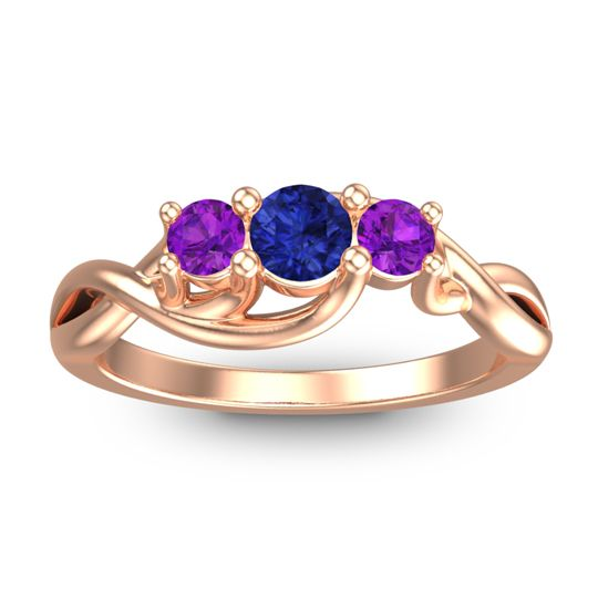 Blue Sapphire Petite Vitana Ring with Amethyst in 18K Rose Gold