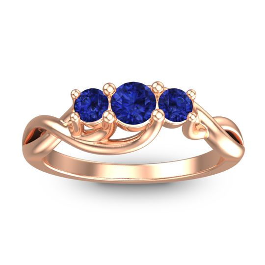 Blue Sapphire Petite Vitana Ring in 14K Rose Gold