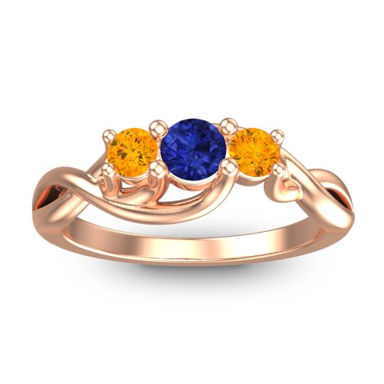 Blue Sapphire Petite Vitana Ring with Citrine in 14K Rose Gold