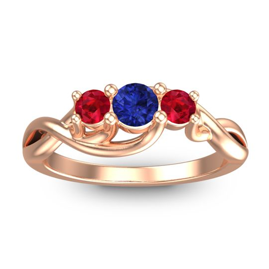 Blue Sapphire Petite Vitana Ring with Ruby in 18K Rose Gold