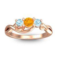 Citrine Petite Vitana Ring with Aquamarine in 14K Rose Gold
