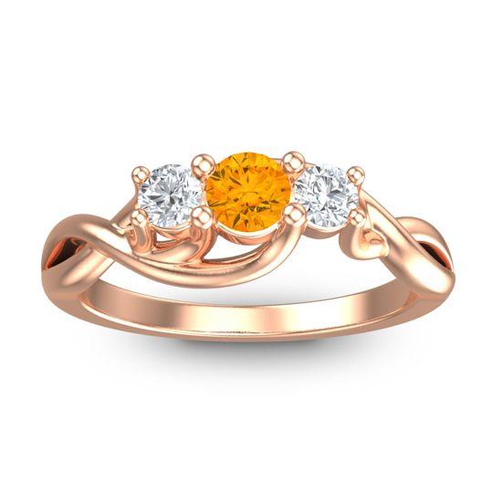 Citrine Petite Vitana Ring with Diamond in 14K Rose Gold
