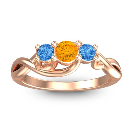 Citrine Petite Vitana Ring with Swiss Blue Topaz in 18K Rose Gold