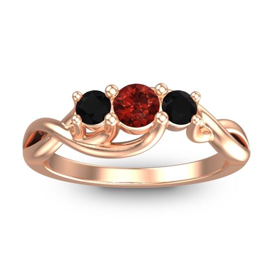 Garnet Petite Vitana Ring with Black Onyx in 14K Rose Gold