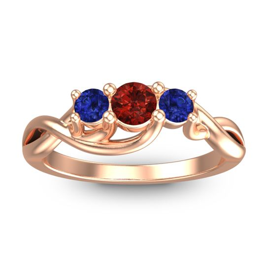 Garnet Petite Vitana Ring with Blue Sapphire in 14K Rose Gold