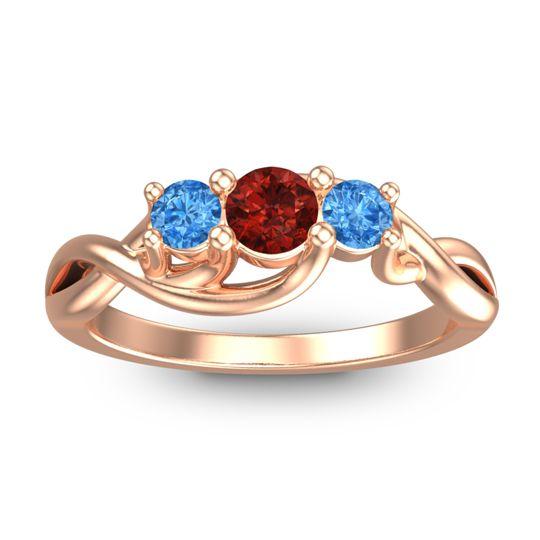 Garnet Petite Vitana Ring with Swiss Blue Topaz in 18K Rose Gold