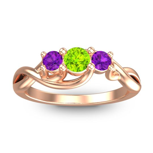 Peridot Petite Vitana Ring with Amethyst in 14K Rose Gold