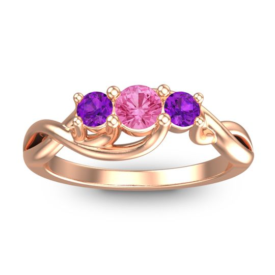 Pink Tourmaline Petite Vitana Ring with Amethyst in 14K Rose Gold