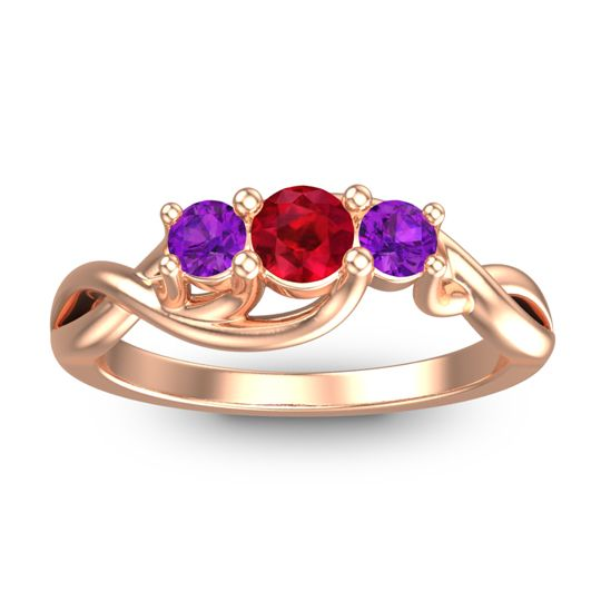Ruby Petite Vitana Ring with Amethyst in 18K Rose Gold