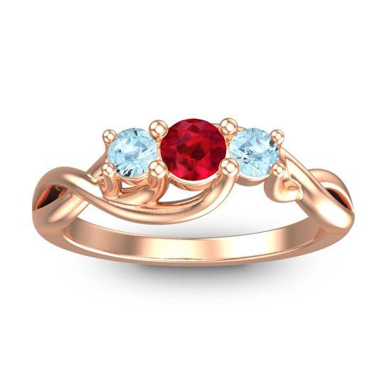 Ruby Petite Vitana Ring with Aquamarine in 18K Rose Gold