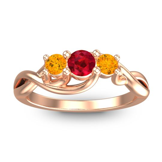 Petite Vitana Ruby Ring with Citrine in 14K Rose Gold