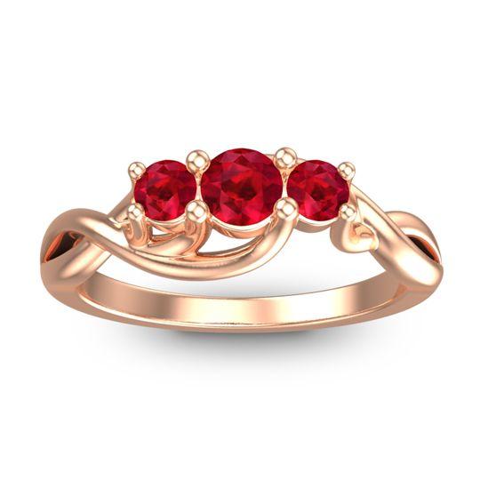 Ruby Petite Vitana Ring in 14K Rose Gold