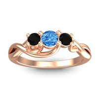 Swiss Blue Topaz Petite Vitana Ring with Black Onyx in 18K Rose Gold