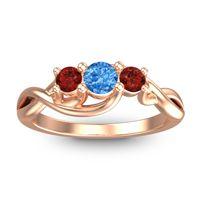 Swiss Blue Topaz Petite Vitana Ring with Garnet in 18K Rose Gold