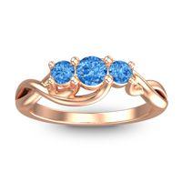 Swiss Blue Topaz Petite Vitana Ring in 14K Rose Gold