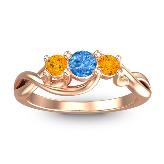 Swiss Blue Topaz Petite Vitana Ring with Citrine in 14K Rose Gold