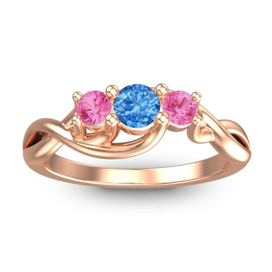 Swiss Blue Topaz Petite Vitana Ring with Pink Tourmaline in 18K Rose Gold