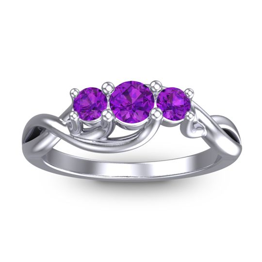 Amethyst Petite Vitana Ring in 18k White Gold
