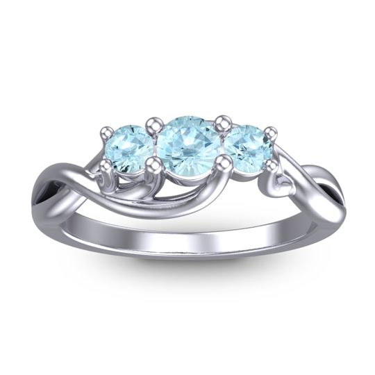 Petite Vitana Aquamarine Ring in 18k White Gold