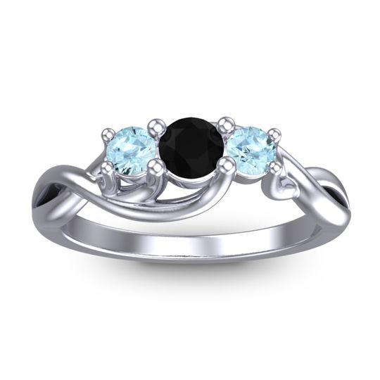 Black Onyx Petite Vitana Ring with Aquamarine in Palladium