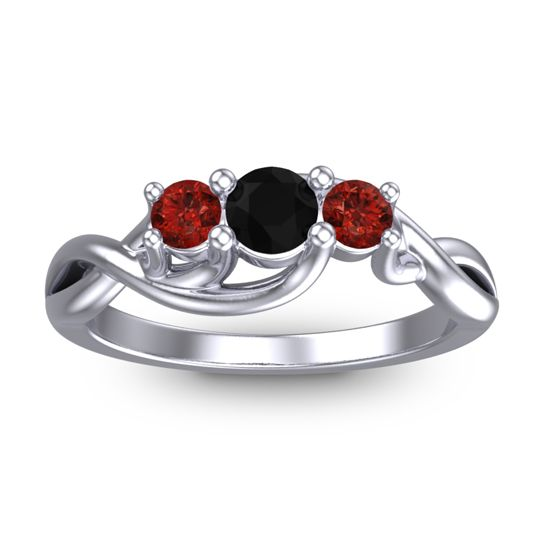 Petite Vitana Black Onyx Ring with Garnet in 14k White Gold