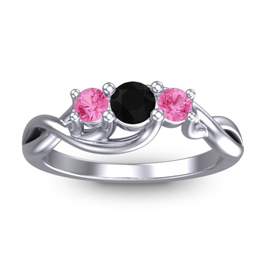 Black Onyx Petite Vitana Ring with Pink Tourmaline in 14k White Gold