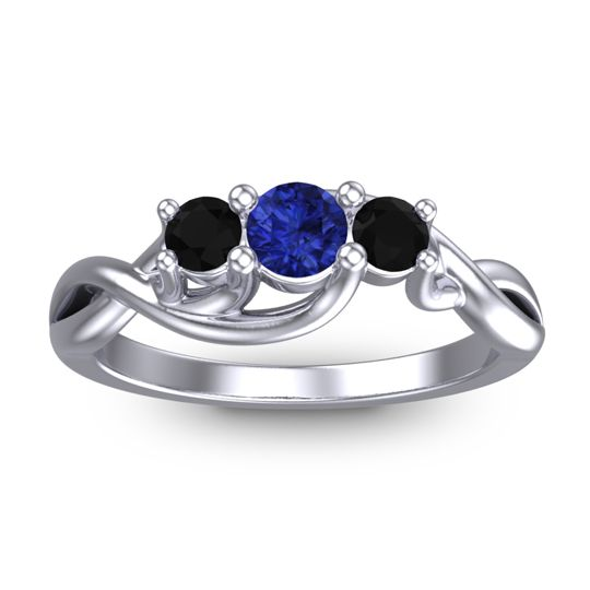 Petite Vitana Blue Sapphire Ring with Black Onyx in Platinum