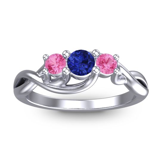 Blue Sapphire Petite Vitana Ring with Pink Tourmaline in 18k White Gold