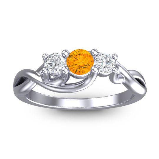 Citrine Petite Vitana Ring with Diamond in 18k White Gold