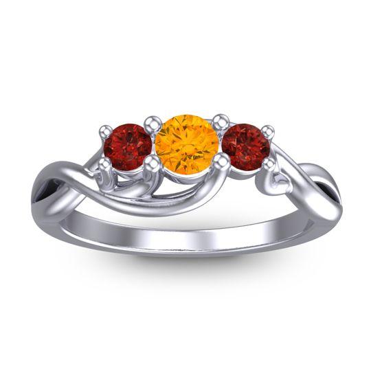Citrine Petite Vitana Ring with Garnet in 14k White Gold