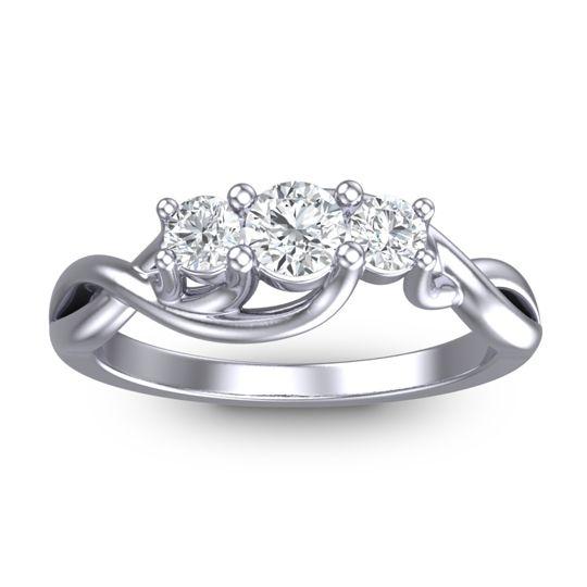 Diamond Petite Vitana Ring in 18k White Gold