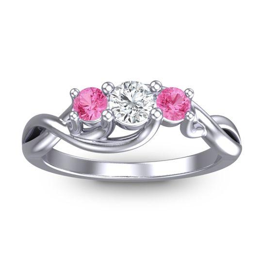 Diamond Petite Vitana Ring with Pink Tourmaline in Platinum