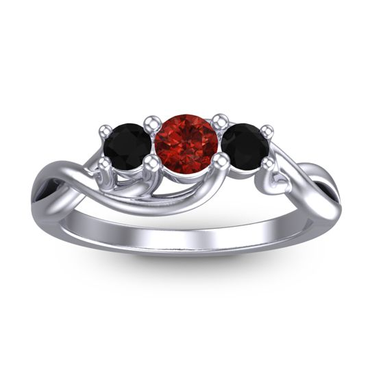 Garnet Petite Vitana Ring with Black Onyx in 18k White Gold