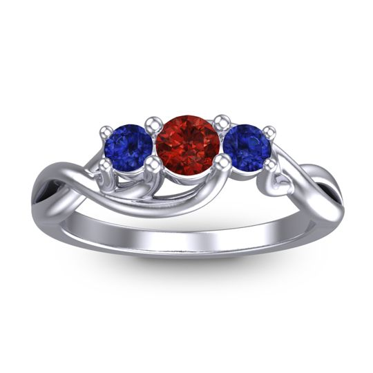 Garnet Petite Vitana Ring with Blue Sapphire in 18k White Gold
