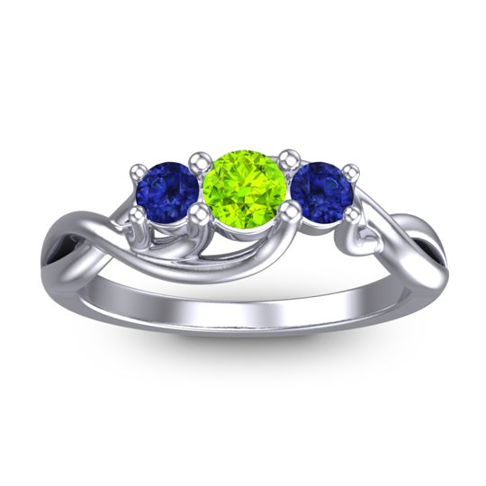 Peridot Petite Vitana Ring with Blue Sapphire in 18k White Gold