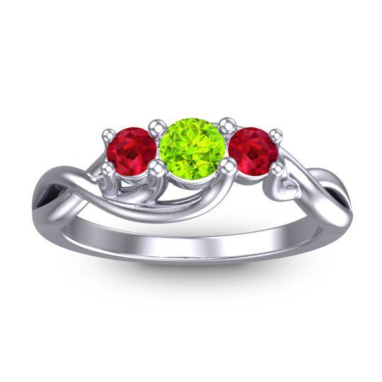 Peridot Petite Vitana Ring with Ruby in Palladium