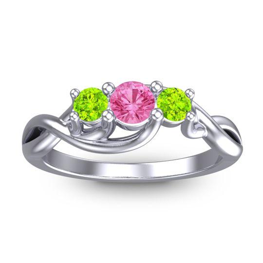 Pink Tourmaline Petite Vitana Ring with Peridot in 18k White Gold