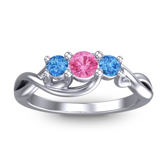 Pink Tourmaline Petite Vitana Ring with Swiss Blue Topaz in Platinum