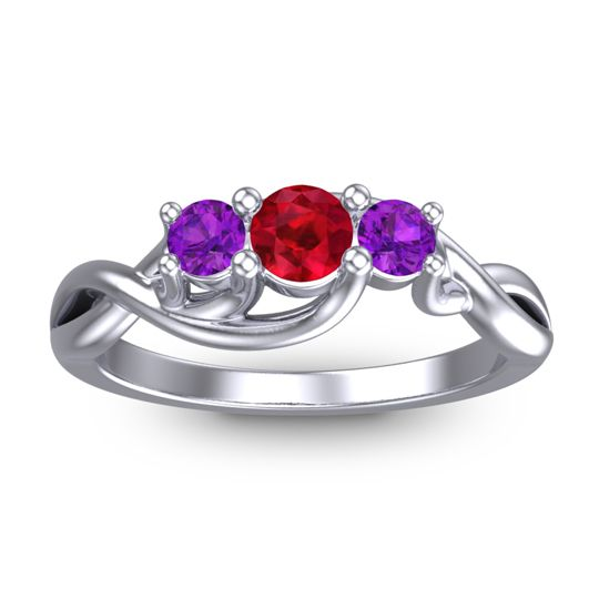 Ruby Petite Vitana Ring with Amethyst in 18k White Gold