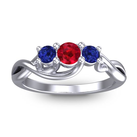 Ruby Petite Vitana Ring with Blue Sapphire in Platinum