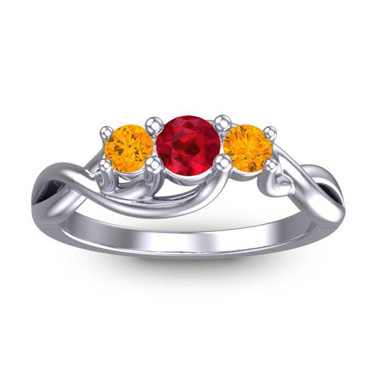 Ruby Petite Vitana Ring with Citrine in Platinum