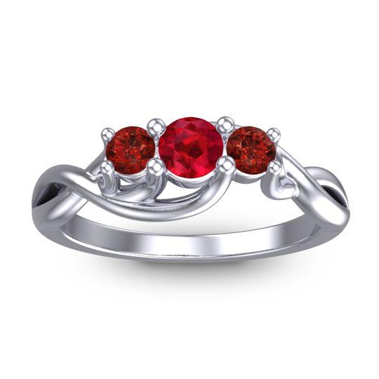 Ruby Petite Vitana Ring with Garnet in Palladium