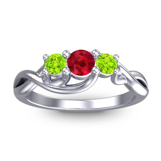 Petite Vitana Ruby Ring with Peridot in Palladium