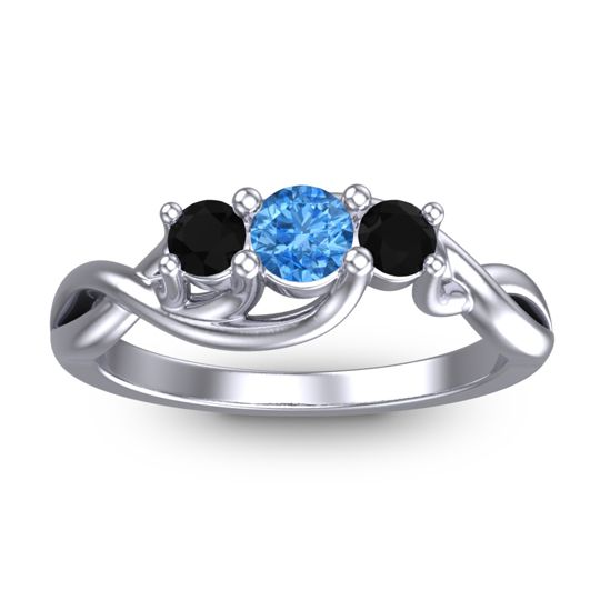 Swiss Blue Topaz Petite Vitana Ring with Black Onyx in Platinum
