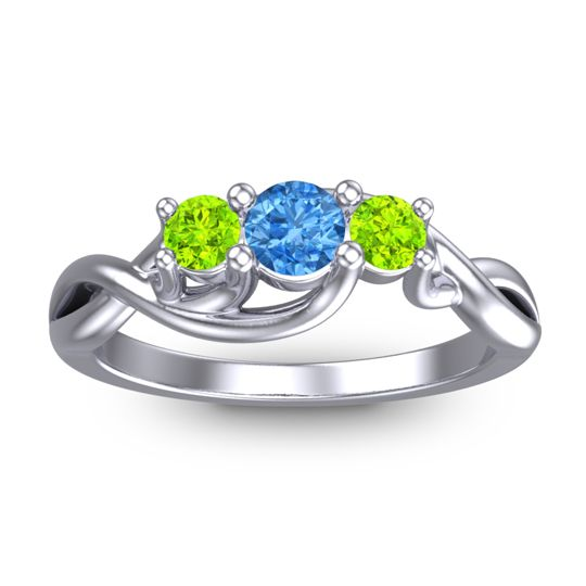 Swiss Blue Topaz Petite Vitana Ring with Peridot in 14k White Gold