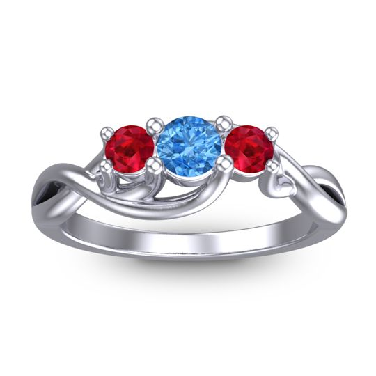 Swiss Blue Topaz Petite Vitana Ring with Ruby in Platinum