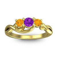 Amethyst Petite Vitana Ring with Citrine in 18k Yellow Gold