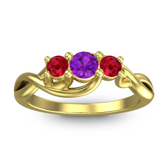 Petite Vitana Amethyst Ring with Ruby in 18k Yellow Gold