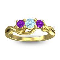 Aquamarine Petite Vitana Ring with Amethyst in 14k Yellow Gold
