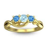 Aquamarine Petite Vitana Ring with Swiss Blue Topaz in 18k Yellow Gold